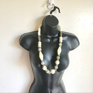 Necklace Cream Blue Beads Gold Accents